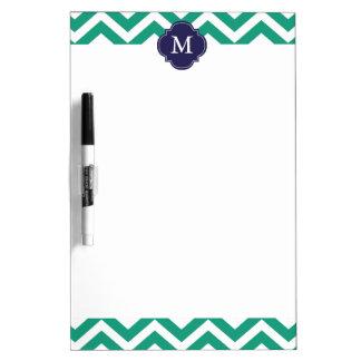 Emerald Green & Blue Zigzags Pattern Monogram Dry-Erase Board