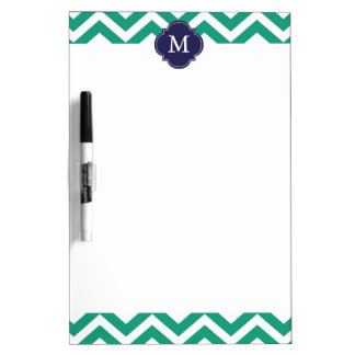Emerald Green & Blue Zigzags Pattern Monogram Dry-Erase Whiteboards