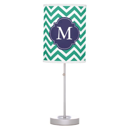 Emerald Green & Blue Zigzags Pattern Monogrammed Table Lamp