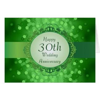 Emerald Green Bokeh 30th Anniversary Card