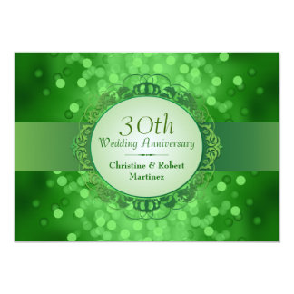 Emerald Green Bokeh 30th Anniversary Party Announcements