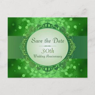 Emerald Green Bokeh Save the Date 30th Anniversary Announcement Postcard
