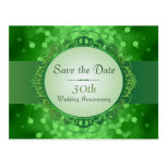 Emerald Green Bokeh Save the Date 30th Anniversary Postcards