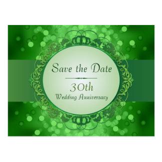 Emerald Green Bokeh Save the Date 30th Anniversary Postcard