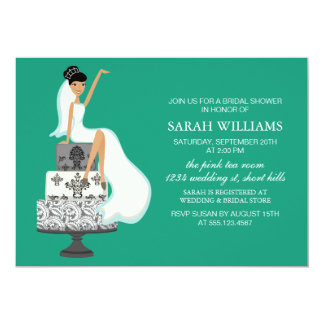 Emerald Green Bride on Wedding Cake Card