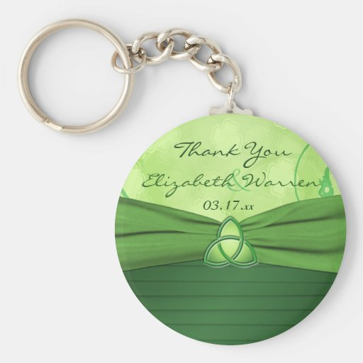 Emerald Green Celtic Love Knot Wedding Favor Basic Round Button Keychain