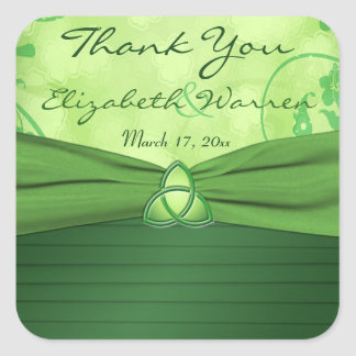 Emerald Green Celtic Love knot Wedding Favor Square Sticker