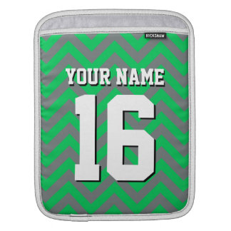 Emerald Green Charcoal Chevron Sports Jersey Sleeve For iPads