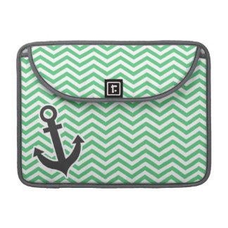 Emerald Green Chevron; Anchor MacBook Pro Sleeve