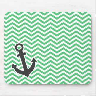 Emerald Green Chevron; Anchor Mouse Pad