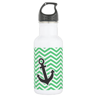 Emerald Green Chevron; Anchor Water Bottle