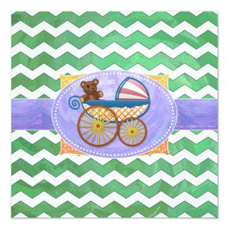 Emerald Green Chevron Baby Shower 5.25x5.25 Square Paper Invitation Card