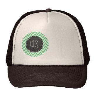 Emerald Green Chevron; Chalkboard Hat
