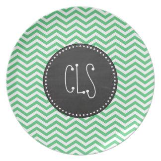 Emerald Green Chevron; Chalkboard Melamine Plate