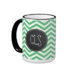 Emerald Green Chevron; Chalkboard Ringer Coffee Mug