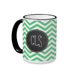 Emerald Green Chevron; Chalkboard Ringer Mug