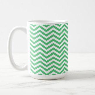 Emerald Green Chevron; zig zag Classic White Coffee Mug