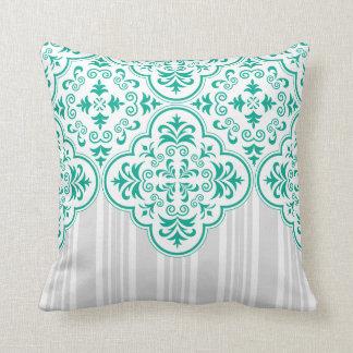 Emerald Green Classy Stripes Damask Throw Pillows