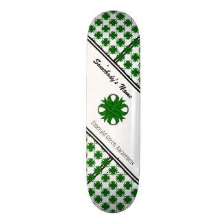 Emerald Green Clover Ribbon by Kenneth Yoncich Skateboard