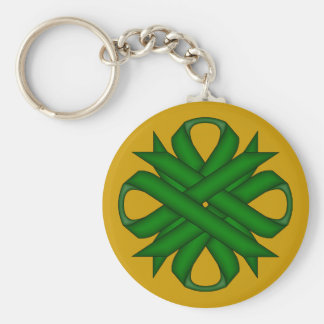Emerald Green Clover Ribbon Keychain