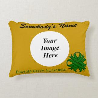 Emerald Green Clover Ribbon Template Accent Pillow