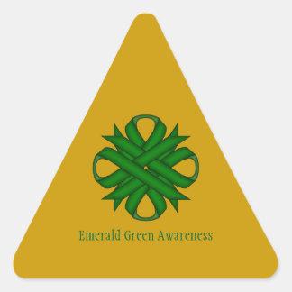 Emerald Green Clover Ribbon Triangle Sticker