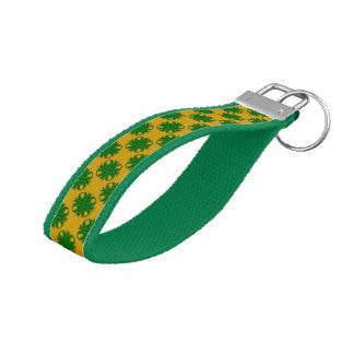 Emerald Green Clover Ribbon Wrist Keychain