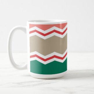 Emerald Green, Coral, Red, and Tan Chevron Stripes Mug