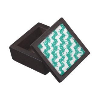 Emerald Green Crystal Chevron Premium Keepsake Boxes