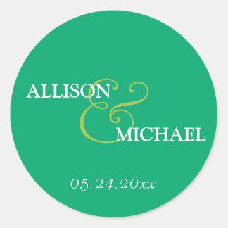 Emerald green custom ampersand wedding favor label