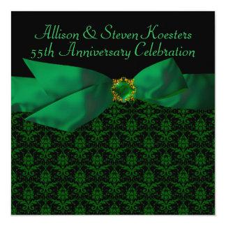 Emerald Green Damask 20th/55th Anniversary Party Invitation