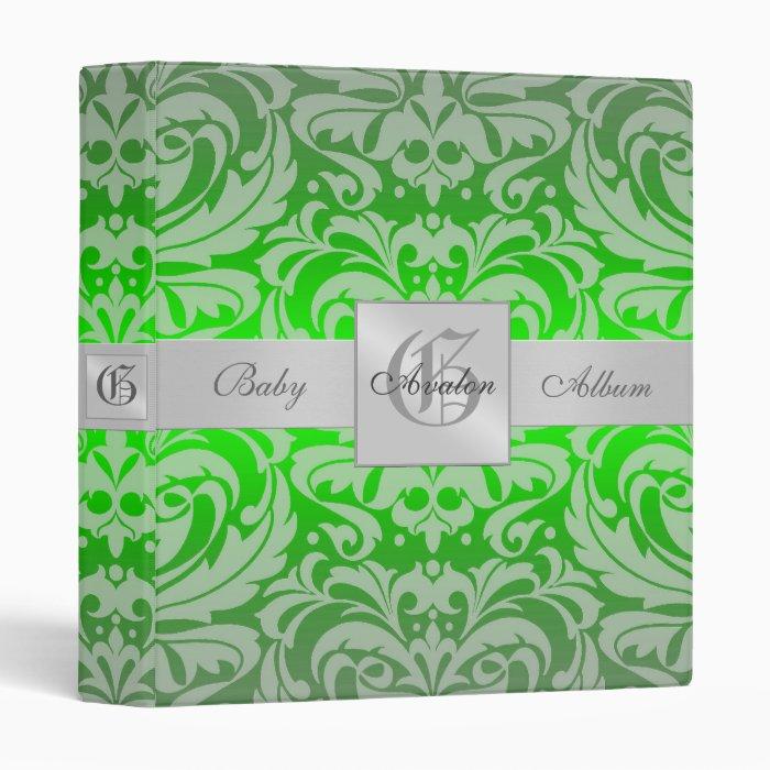 Emerald Green Damask  Baby Album Binder