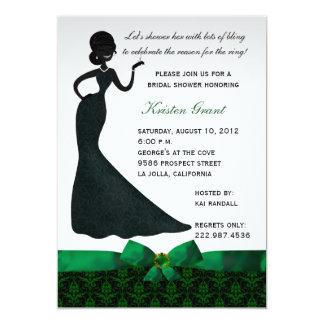 "Emerald Green Damask Bridal Shower Invitation 5"" X 7"" Invitation Card"