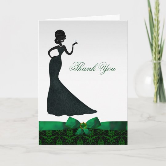 emerald green damask bridal shower thank you card