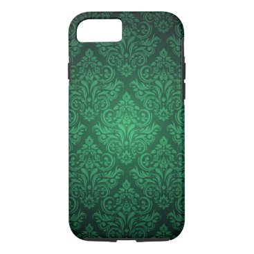 Emerald Green damask pattern iPhone 7 case