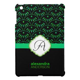 Emerald Green Damask Seigaiha iPad Mini Covers
