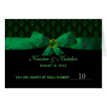 Emerald Green Damask Table Number Cards