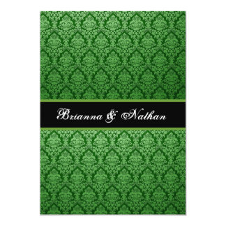 "Emerald Green Damask Wedding Invitation 5"" X 7"" Invitation Card"