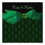"""Emerald Green Damask Wedding Invitations Black 5.25"""" Square Invitation Card"""