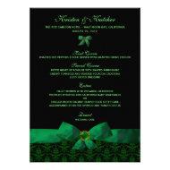 Emerald Green Damask Wedding Menu 5x7 Announcement