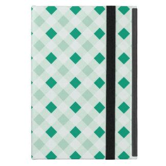 Emerald Green Diamond Windowpane Check Pattern Cover For iPad Mini