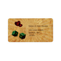 emerald green dice Vintage Vegas adress labels