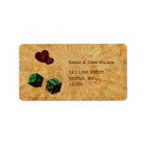 emerald green dice Vintage Vegas adress labels