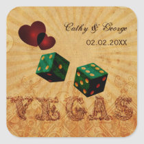 emerald green dice Vintage Vegas favor stickers