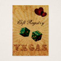 emerald green dice Vintage Vegas Gift registry Business Card