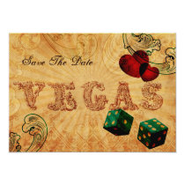 emerald green dice Vintage Vegas save the date Card