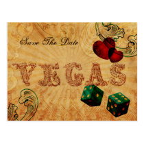 emerald green dice Vintage Vegas save the date Postcard