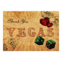 emerald green dice Vintage Vegas Thank You Card