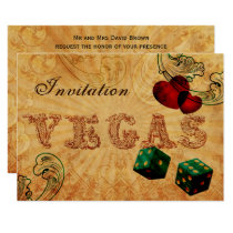 emerald green dice Vintage Vegas wedding invites
