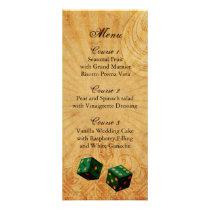 emerald green dice Vintage Vegas wedding menu